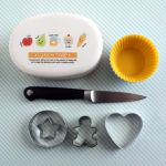 Bento Supplies: bento box, silicone cups, knife, cookie cutters