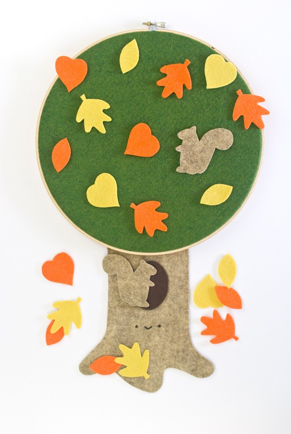 Autumn Felt Tree with Colorful Leaves
